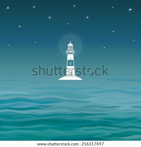 White symbol Beacon. Background night sea. A place for the text. - stock vector