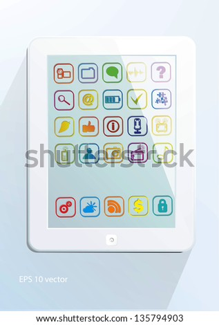 White tablet computer - stock vector