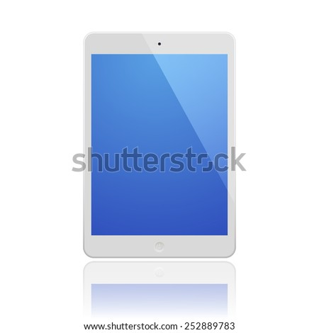 White Tablet Computer with blue screen and reflection.  Illustration Similar To iPad - stock vector
