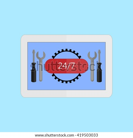 White tablet on a blue background with a screwdriver and screwdriver  on the screen. The concept of hours service. Vector illustration in a flat style. - stock vector