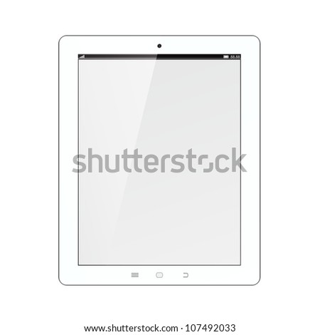 white tablet PC computer - stock vector