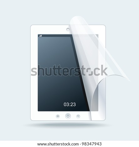 White tablet pc on white background - stock vector