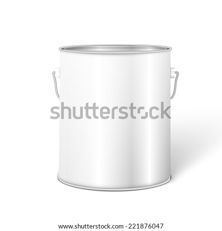 White Tall Tub Paint Bucket Container With Metal Handle.  - stock vector