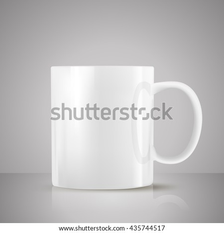 white tea cup realistic vector on grey background - stock vector