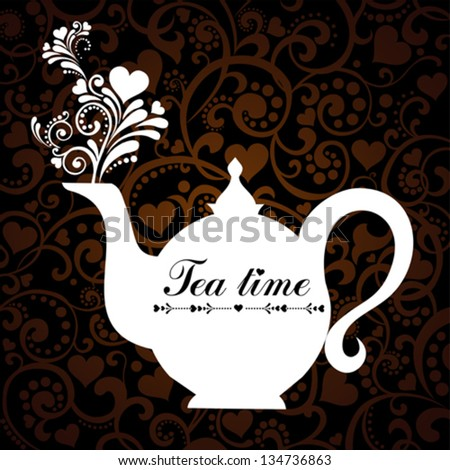 White teapot. Beautiful background with teapot and place for your text. Menu for restaurant, cafe, bar, tea-house. Vector illustration - stock vector