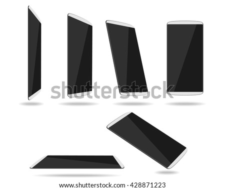 White thin smartphones face different foreshortening. Vector illustration. EPS 10. No transparency. No gradients. Raw materials are easy to edit. - stock vector