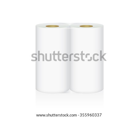 White Tissue Paper includes 2 roll in pack blank label and no text for mock up packaging - stock vector