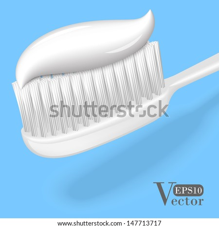 White toothbrush with toothpaste  isolated on blue background. Vector illustration EPS10. - stock vector