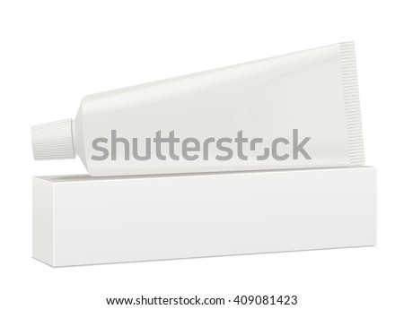 White toothpaste tube and package. Vector - stock vector