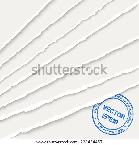 White torn paper corner sheets. Vector EPS10 illustration. Design elements - torn paper with ripped edges - stock vector