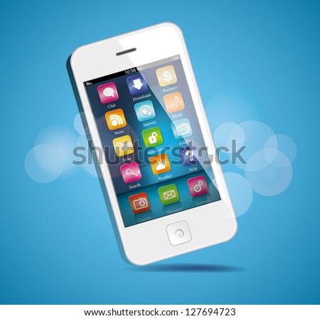 White Touchscreen smartphone - stock vector