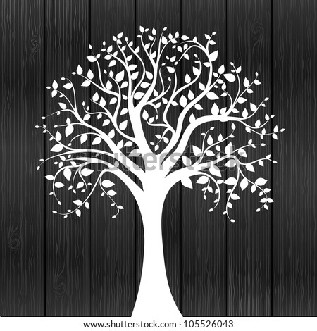 White tree -  individual elements for easy changes - stock vector