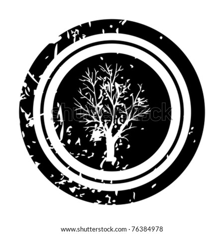 White tree on black stamp - stock vector