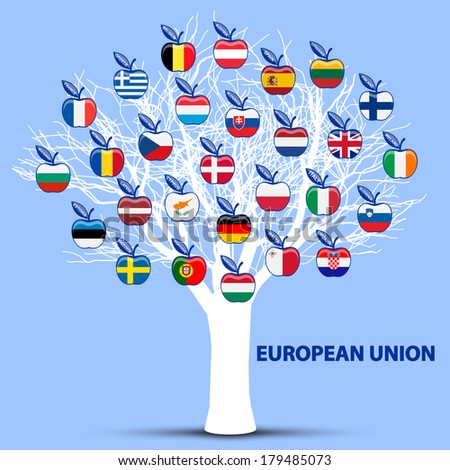 white tree with european union flags apples - stock vector