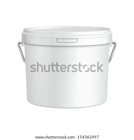 White Tub Paint Plastic Bucket Container With Metal Handle. Plaster, Putty, Toner. Ready For Your Design. Product Packing Vector EPS10  - stock vector