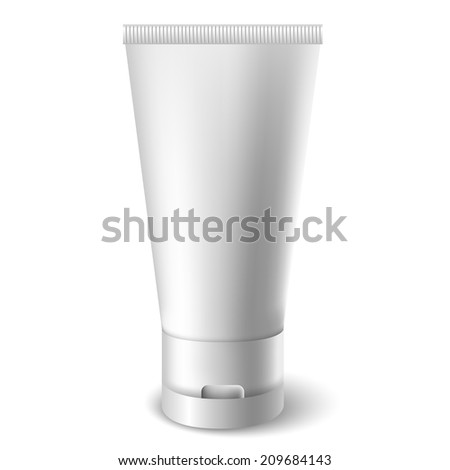 White tube cream container - stock vector