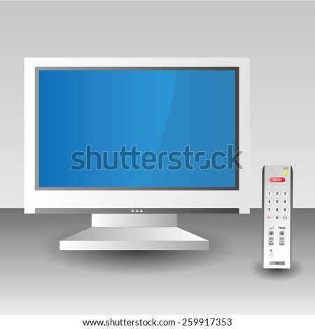 white TV screen reote control technology isolated - stock vector