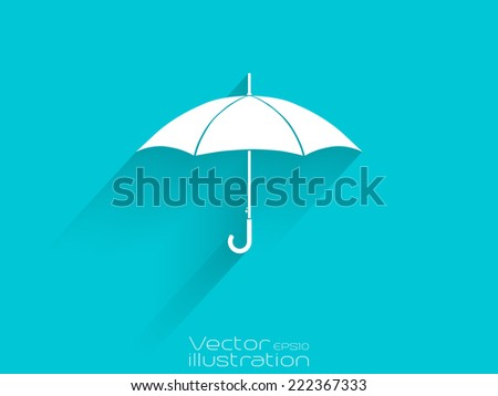 White umbrella icon on blue background - EPS10 - stock vector