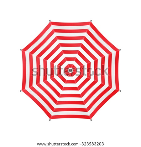 White Umbrella With Red Stripes. Top View. Template For Your Design. Isolated On White Background. Vector. - stock vector