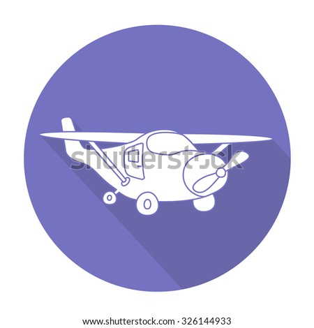 White vector airplane on color circle background. - stock vector