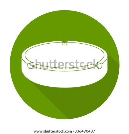 White vector ashtray on color circle background. - stock vector