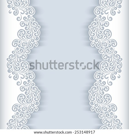 White vector background with floral cutout paper swirls, greeting card or wedding invitation template - stock vector