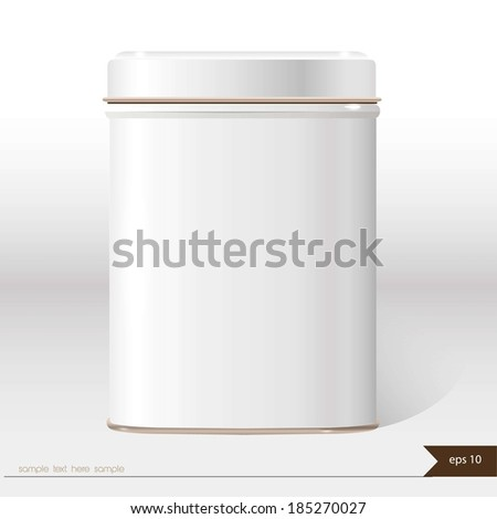 White vector box with place for your text. Design product package. Tea,coffee,dry products.  - stock vector