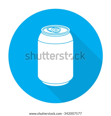 White vector can on color circle background. - stock vector