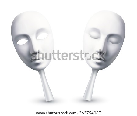 White vector carnival masks with open and closed eyes - stock vector