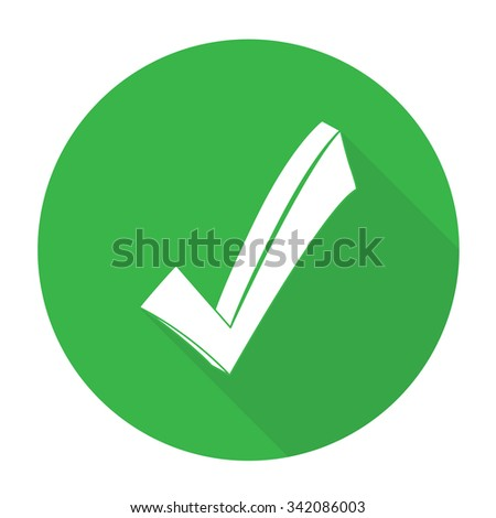 White vector check mark on color circle background. - stock vector