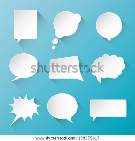 White vector communication speech bubble clouds with flat long shadow - stock vector