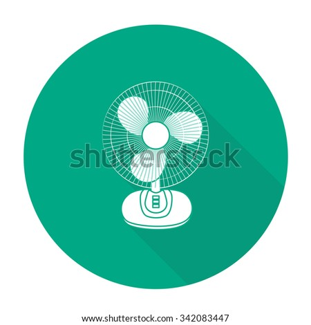 White vector electric fan on color circle background. - stock vector