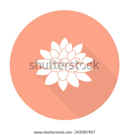 White vector flower on color circle background. - stock vector