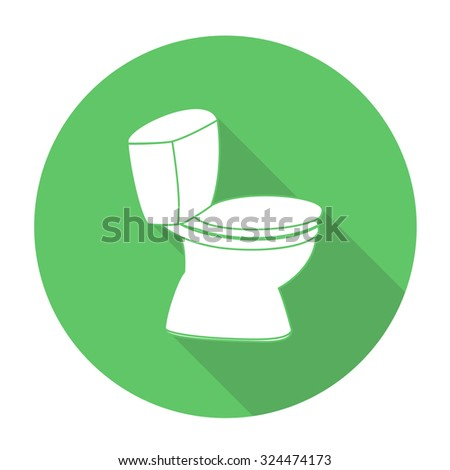 White vector flush toilet on color circle background. - stock vector