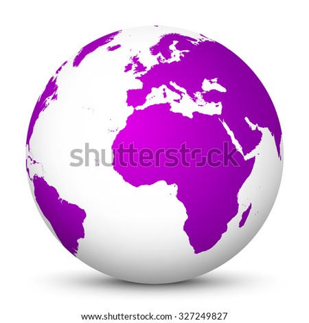 White Vector Globe Icon with Purple Continents - Planet Earth - World Symbol on White Background with Smooth Shadow. - stock vector