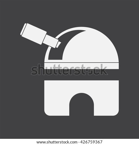 white vector icon on black background  telescope station - stock vector