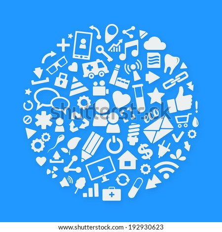 White vector icons arranged inside circle. Background of the icons on blue - stock vector