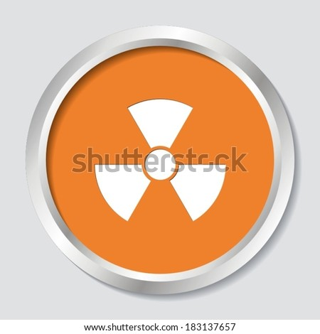 White vector radioactivity sign on orange button - stock vector