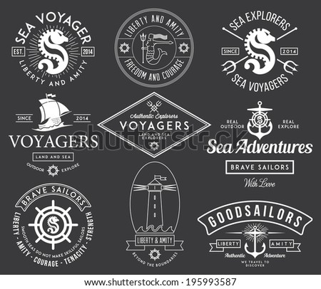 White vector sea badges on black background - stock vector