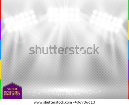 White vector spotlight light effect on transparent background. Concert scene with sparks illuminated by glow ray. Stadium projector. Show room - stock vector
