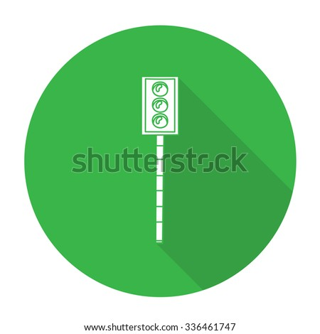 White vector traffic light on color circle background. - stock vector