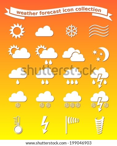 White vector weather icons collection on orange background - stock vector