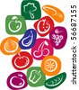 white vegetable and fruit icons on colorful background, vector illustration - stock vector