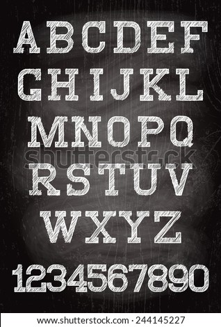 white vintage font written chalk on the wooden board - stock vector