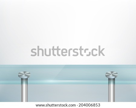 White wall background with glass table. Vector set. - stock vector