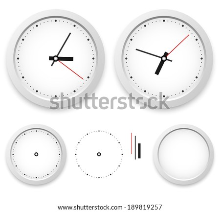 White wall clock vector template isolated on white background. - stock vector