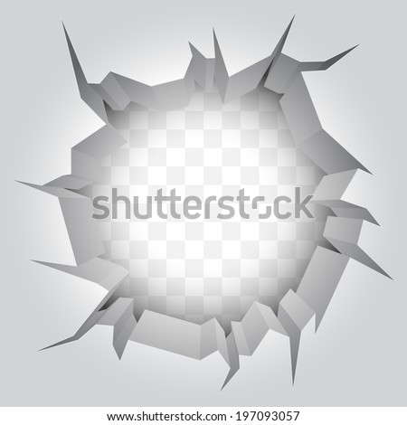 White wall with big hole. - stock vector