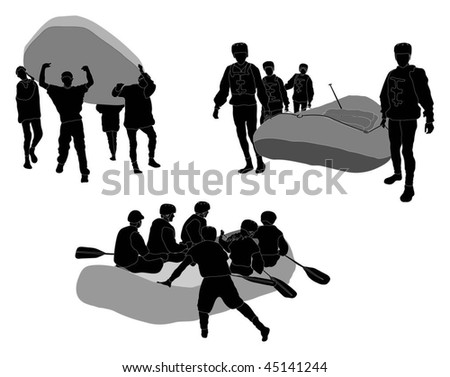 White water rafters - Silhouette (going in / coming out) - stock vector