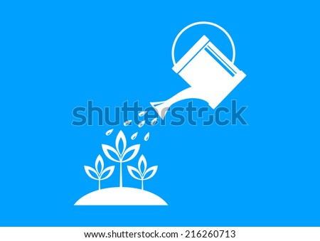 White watering can on blue background  - stock vector