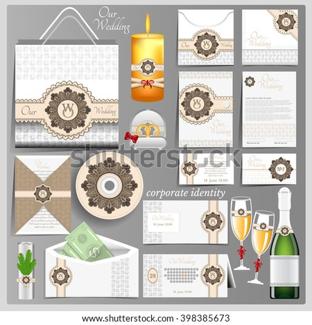 White wedding corporate identity template with brown circle pattern element - stock vector